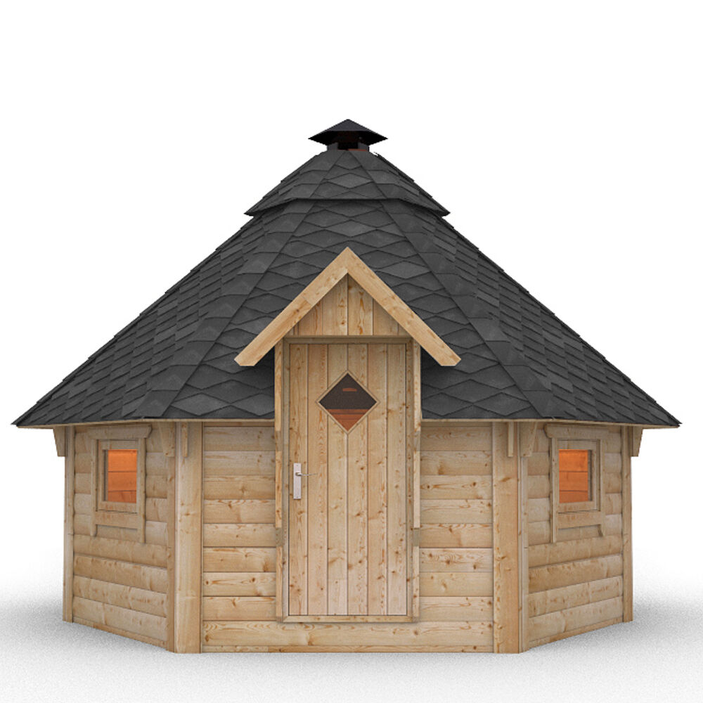 Wooden bbq hut grill house grillkota barbecue winter for Wooden cabin house