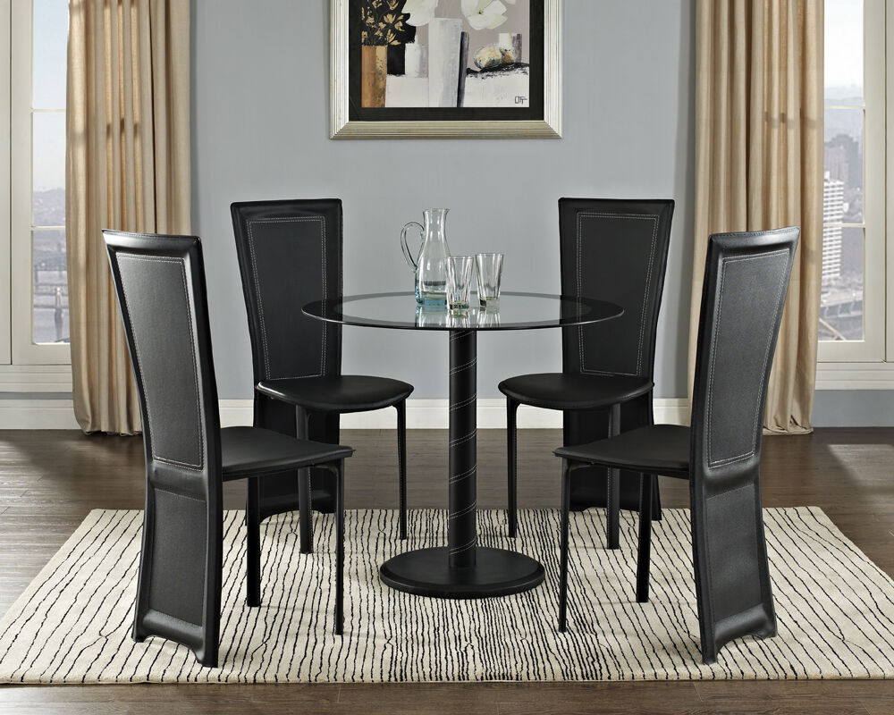 Black Glass Dining Table And With 4 Pvc Faux Leather Chairs Contemporary New Ebay