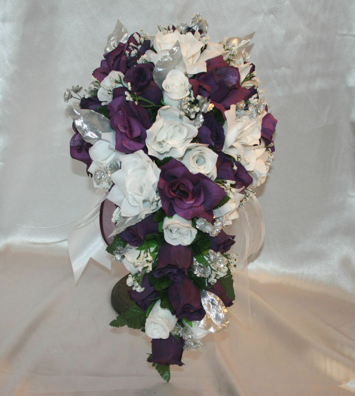 wedding bouquet purple wedding bridal bouquet cascade package purple white silver 8481