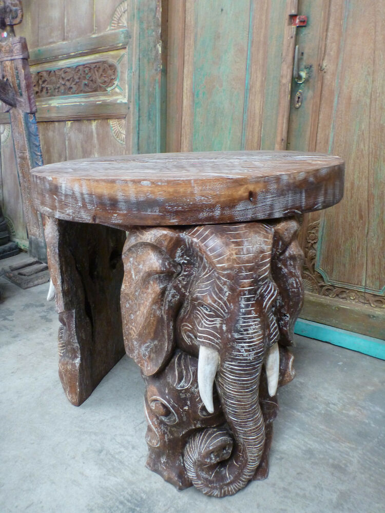 Balinese hand carved elephant coffee side table unique saur wood round ebay Elephant coffee table