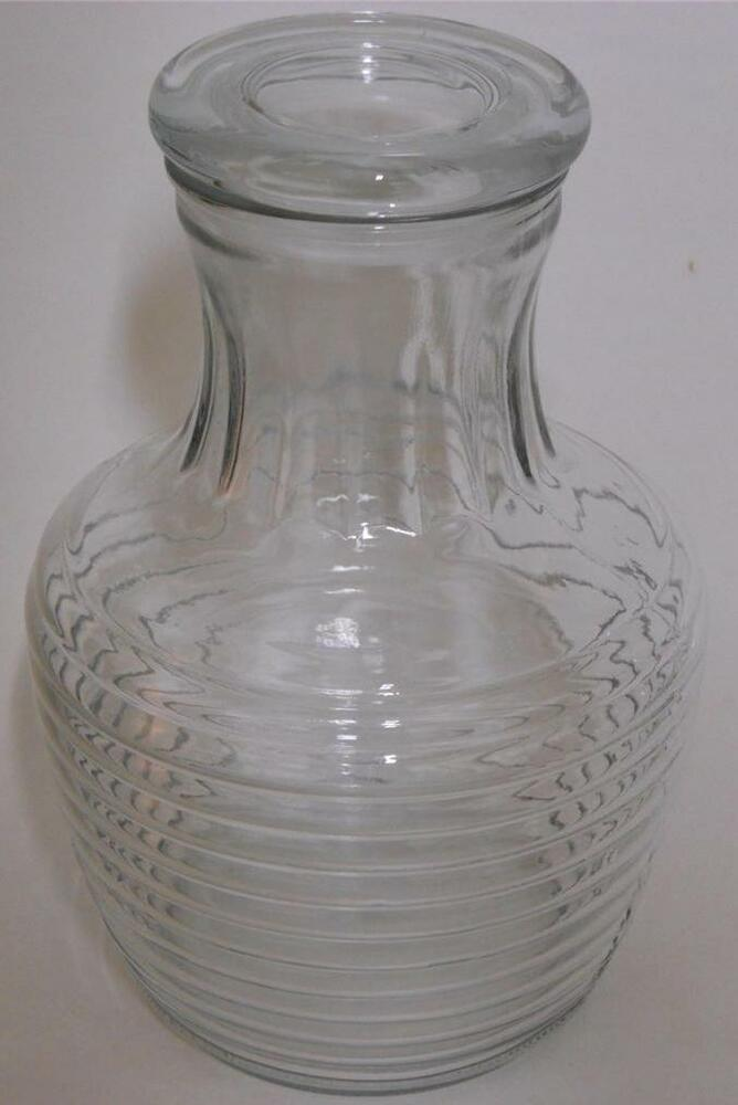 Anchor Hocking Clear Glass Ribbed Water Bottle With Lid