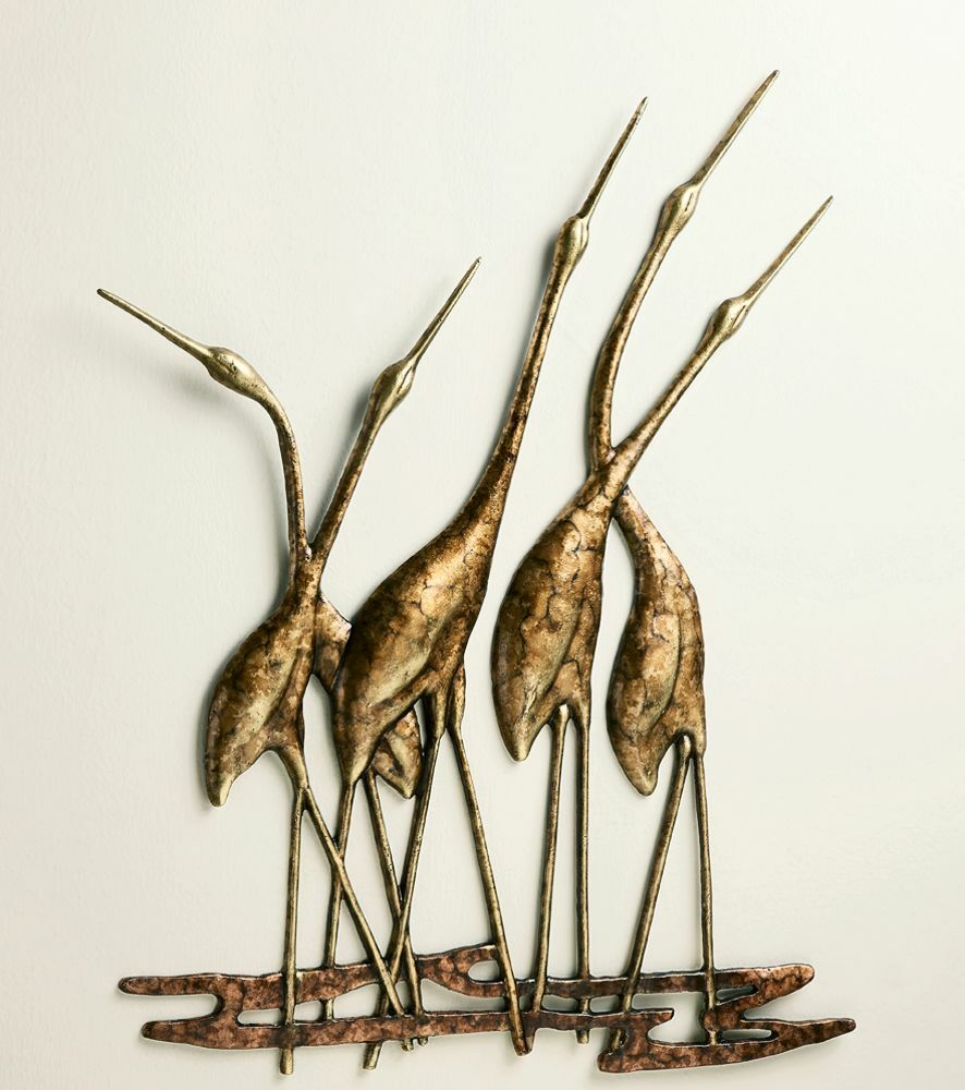 Crane quintet wall art sculpture metal heron bird gold for Bronze wall art