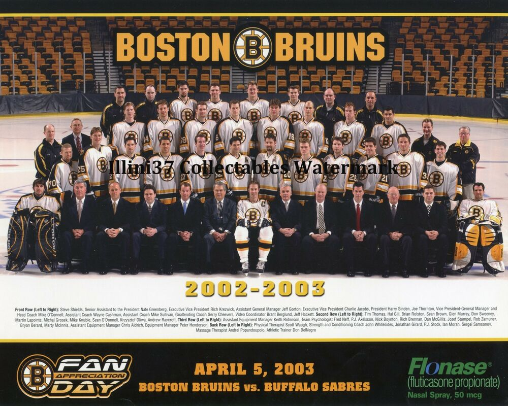 2002-03 BOSTON BRUINS NHL HOCKEY 8X10 TEAM PHOTO PICTURE ... Bruins Roster Nhl