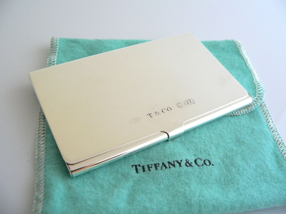 Tiffany co t co silver 1837 business card case holder for Tiffany and co business card holder