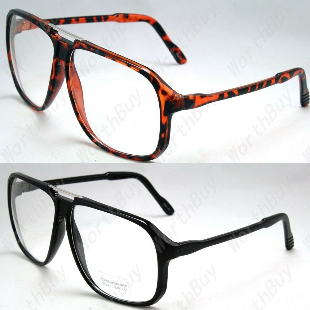 Large Oversize Squared Retro Clear Lens Nerd Frames ...
