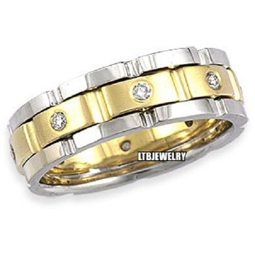 2 Tone Men Bands: MENS 14K TWO TONE GOLD DIAMOND WEDDING BAND RING