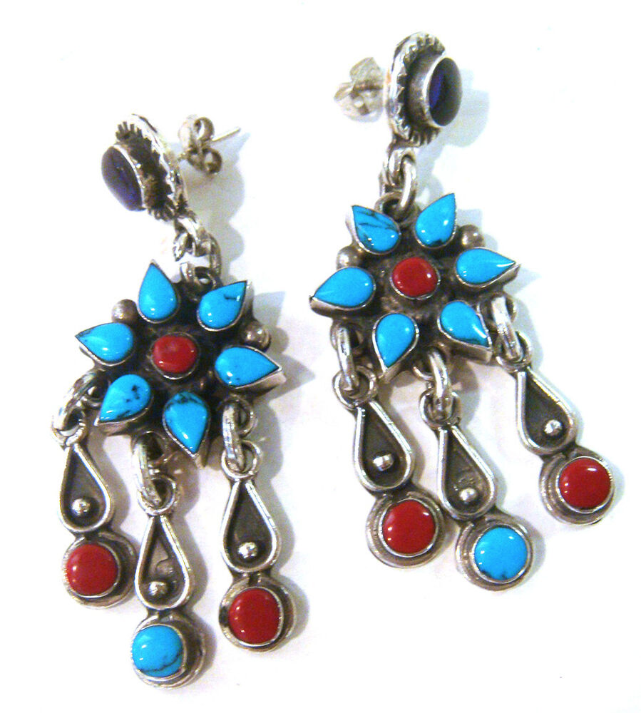 Taxco 925 Sterling Silver Inlay Earrings From Mexico Ebay