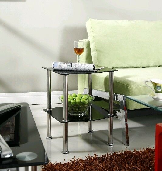 2 Tier Glass Side Coffee Lamp Table Black Clear Shelf