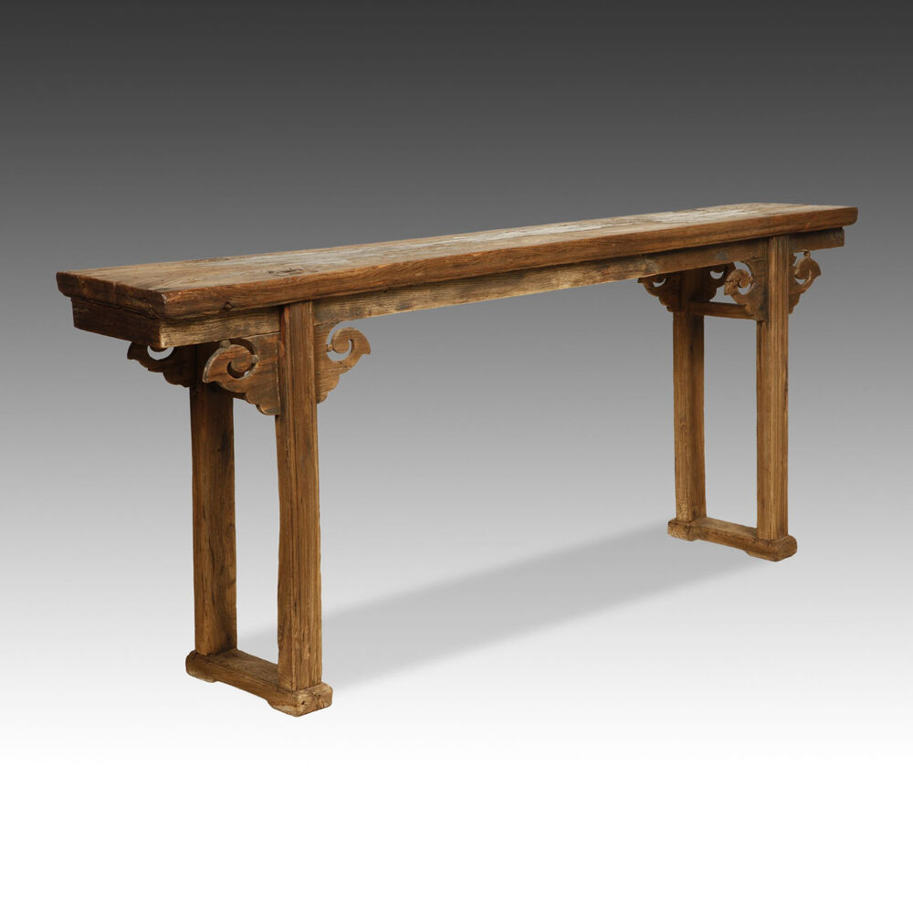 Table China: LARGE CHINESE CARVED LACQUERED ELM WOOD ALTAR TABLE