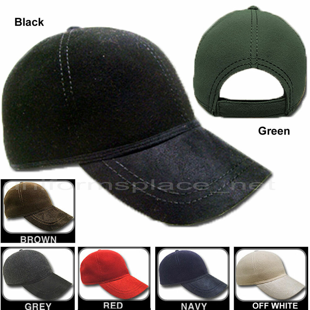 6a2678b188c Mens Hat Plain Adjustable fit 100% Wool Baseball Cap KBW09 One Size Solid