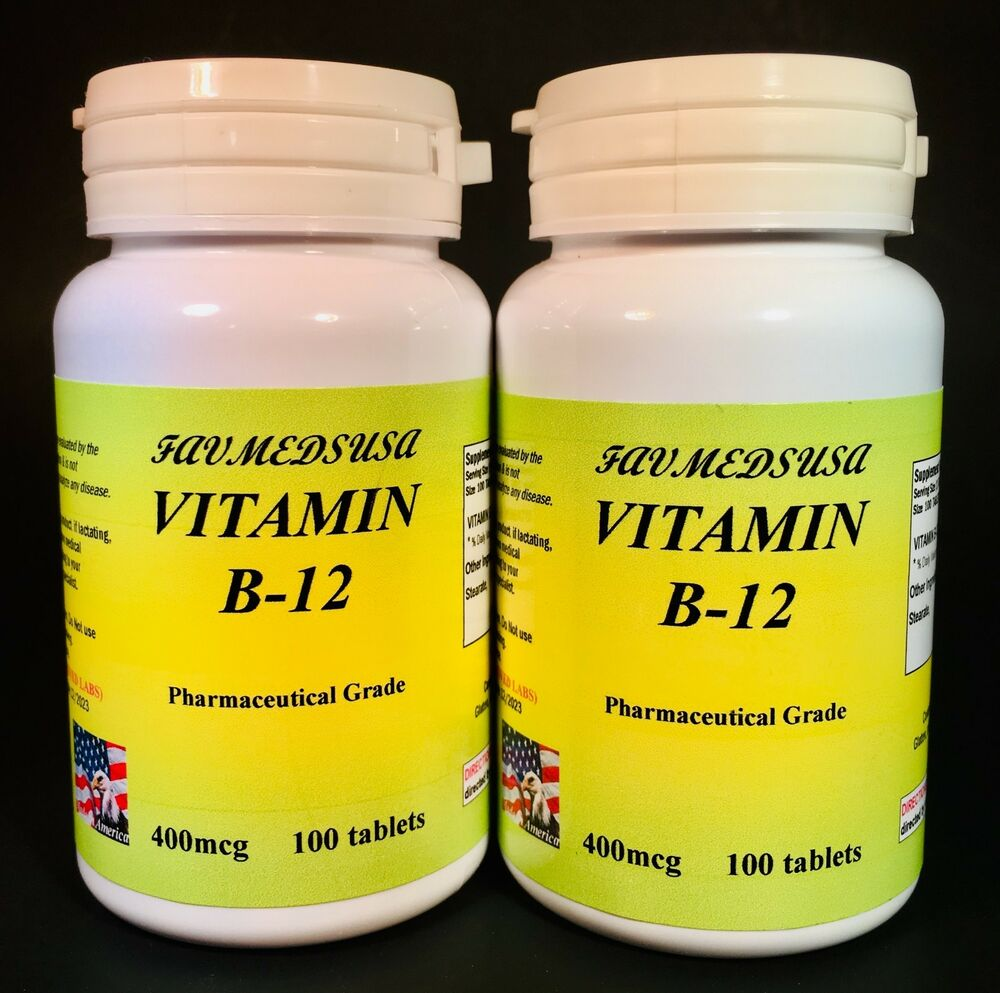 vitamin b 12 b12 cobalamins anemia heart 200 2x100 tablets made in usa ebay. Black Bedroom Furniture Sets. Home Design Ideas