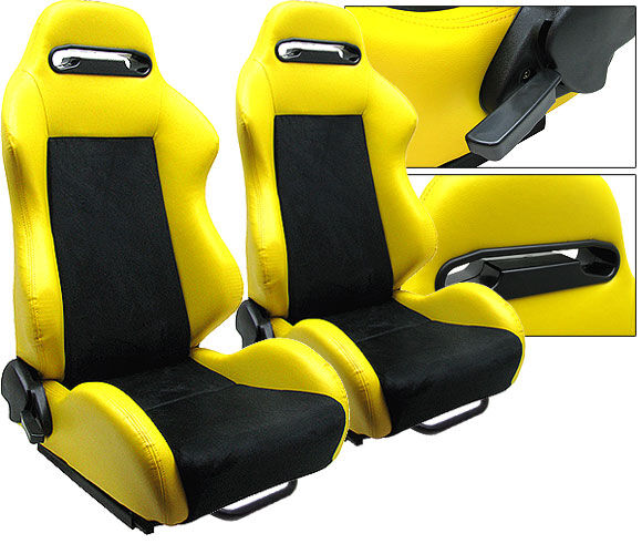2 yellow black racing seats reclinable sliders all pontiac new ebay. Black Bedroom Furniture Sets. Home Design Ideas