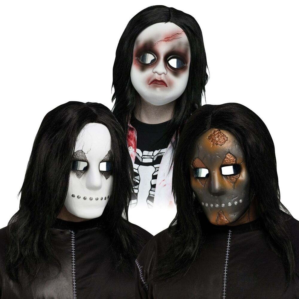 Scary Horror Mask w/ Hair Baby Doll Soul Stealer Costume Halloween ...