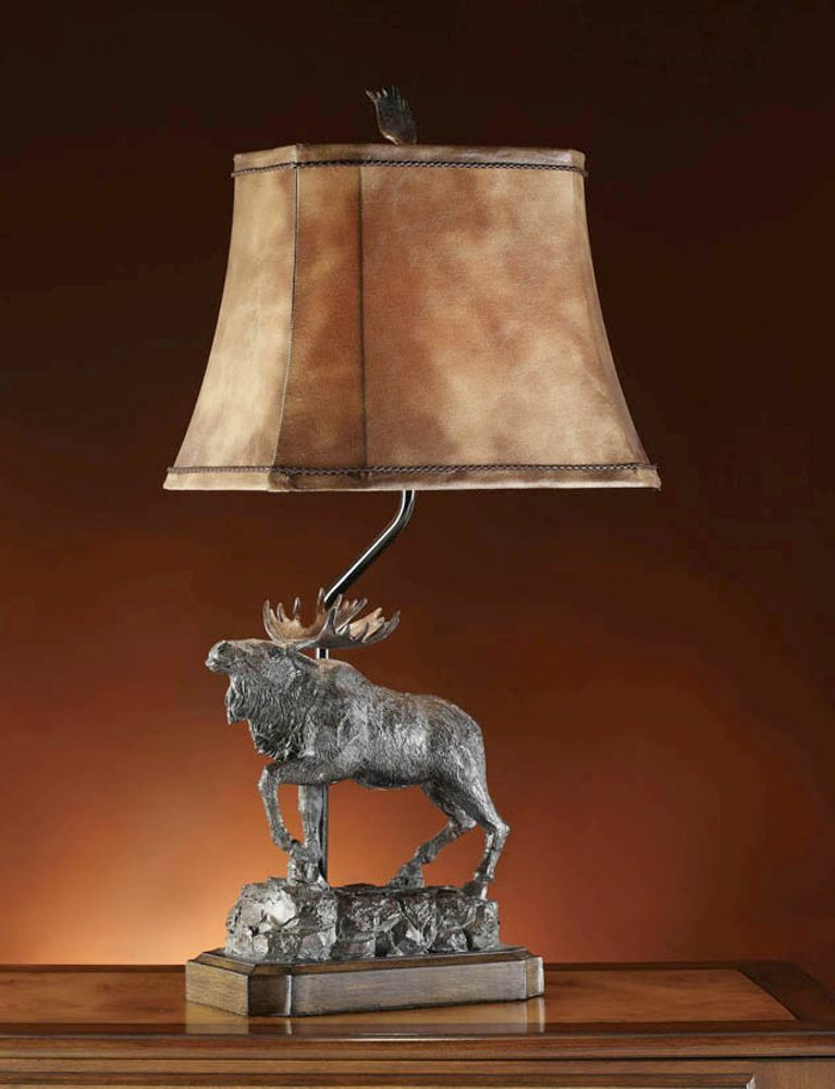 Majestic moose table lamp bronze finish rustic cabin for Decoration lamps