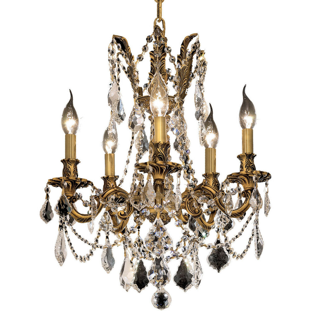 Swarovski Crystal Dollhouse Chandelier: 5 LIGHT FRENCH GOLD EMPIRE CHANDELIER SWAROVSKI CRYSTAL