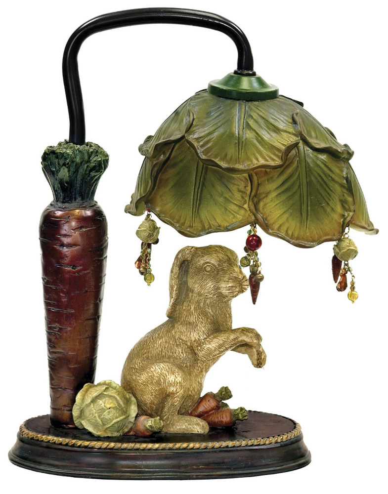 Rabbit Under Cabbage Leaf Mini Accent Bunny Table Lamp 13