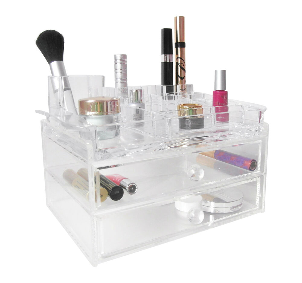 Large Cosmetic Make Up Organiser With Drawers Clear