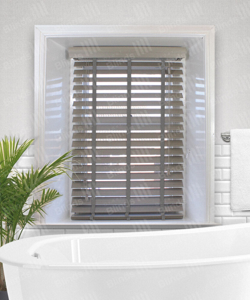 haze faux wood venetian blinds with tapes a grey to brown coloured 50mm slat ebay. Black Bedroom Furniture Sets. Home Design Ideas