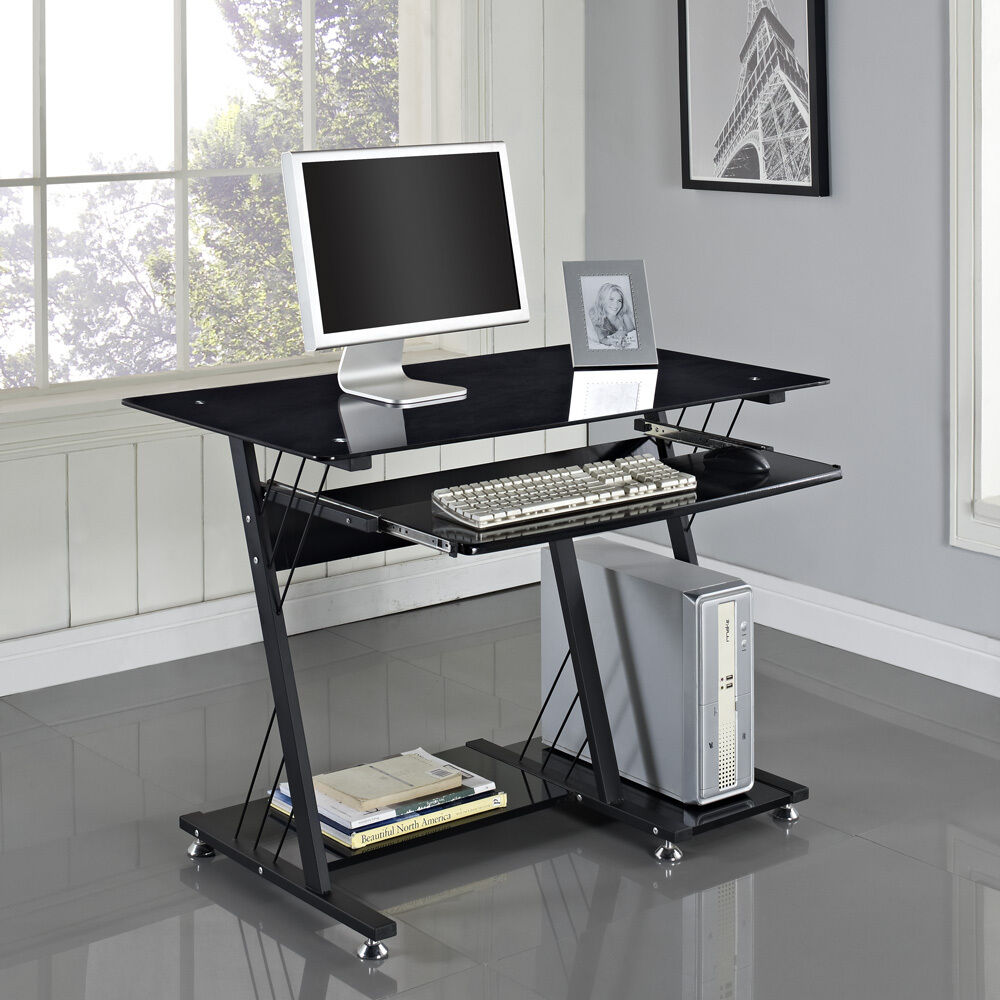 Computer Desk Pc Table Black White Glass Home Office Furniture High Gloss Shelf Ebay