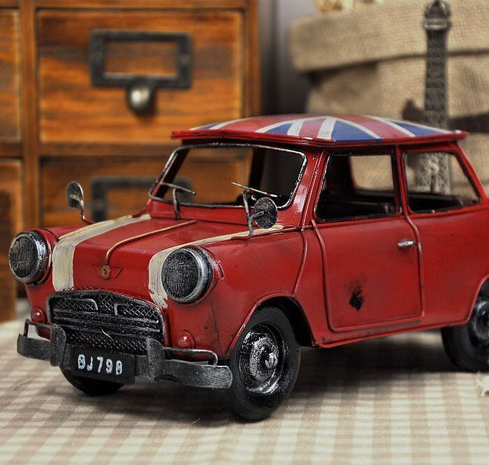 retro mini cooper vintage tin metal car model hand made uk national flag red ebay. Black Bedroom Furniture Sets. Home Design Ideas