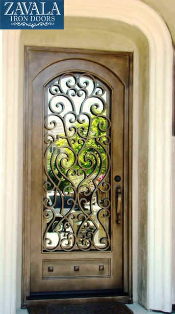 Wrought iron entry doors single door sd38003 ebay for Single front entry doors
