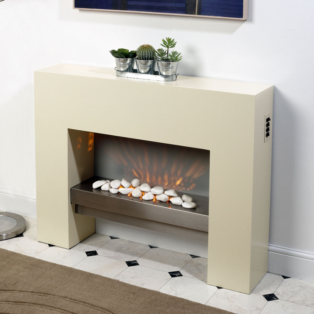 Free Standing Electric Fire MDF Creme Surround Fireplace ...