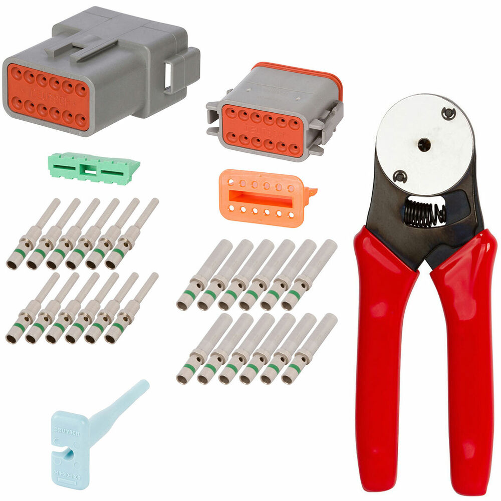 deutsch crimp tool 20 12 awg with 12 pin gray connector kit ebay. Black Bedroom Furniture Sets. Home Design Ideas