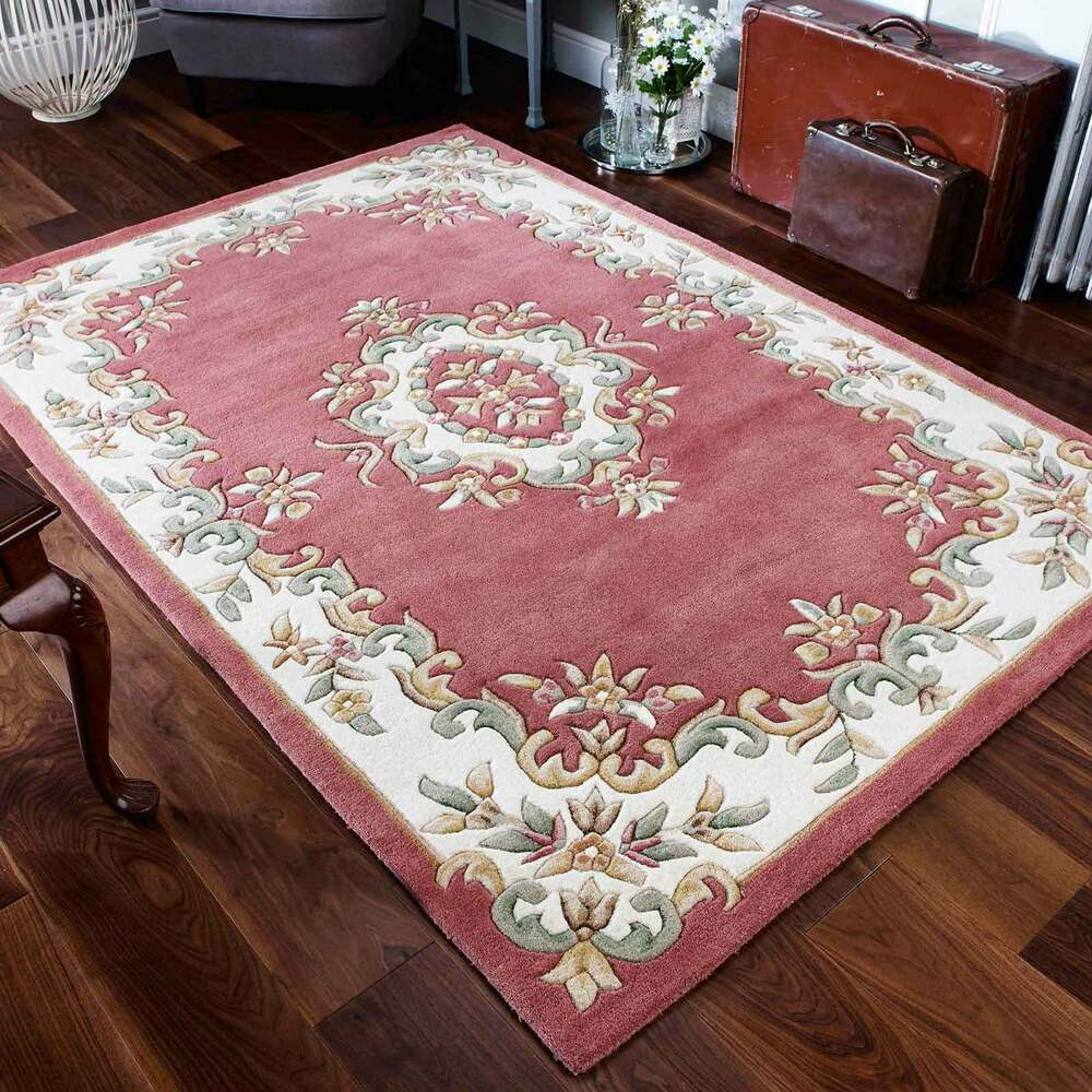 Indian Aubusson Rose Pink Wool Traditional Rugs 80x150cm
