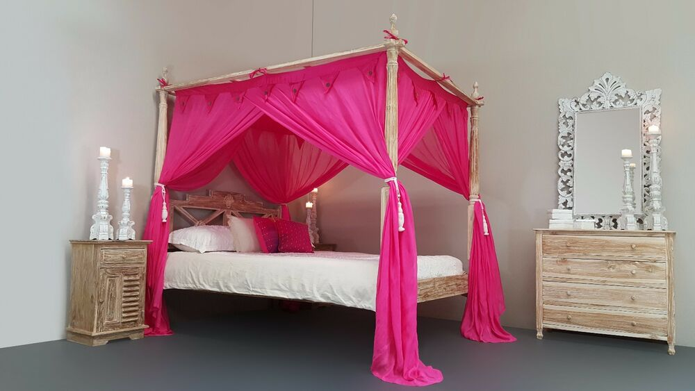 Four Poster Bed Canopy Mosquito Net King Size 185x205cm