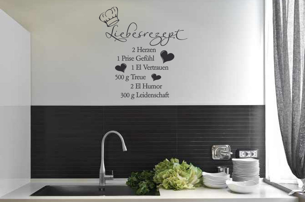 wandtattoo wandsticker k che liebesrezept spr che k chenaufkleber ebay. Black Bedroom Furniture Sets. Home Design Ideas