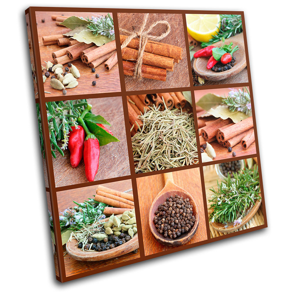 Spices Collage Chili Food Kitchen SINGLE CANVAS WALL ART