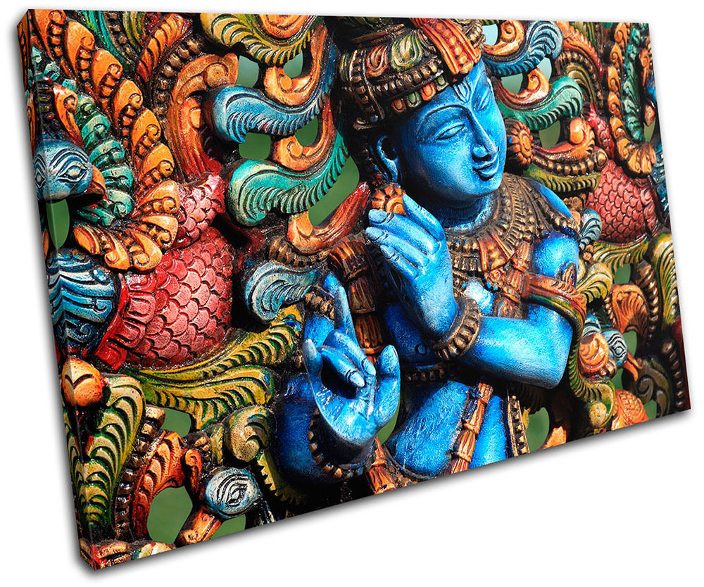 Lord Krishna Hindu Religion SINGLE CANVAS WALL ART Picture