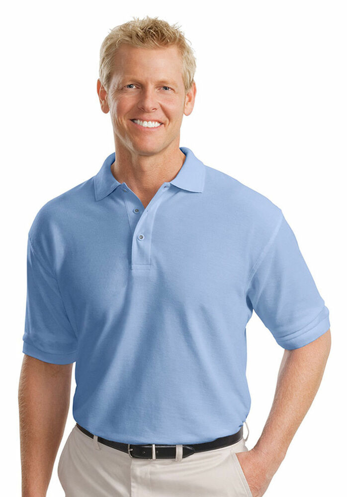 Port authority tall men 39 s short sleeve silk touch golf for Large tall golf shirts