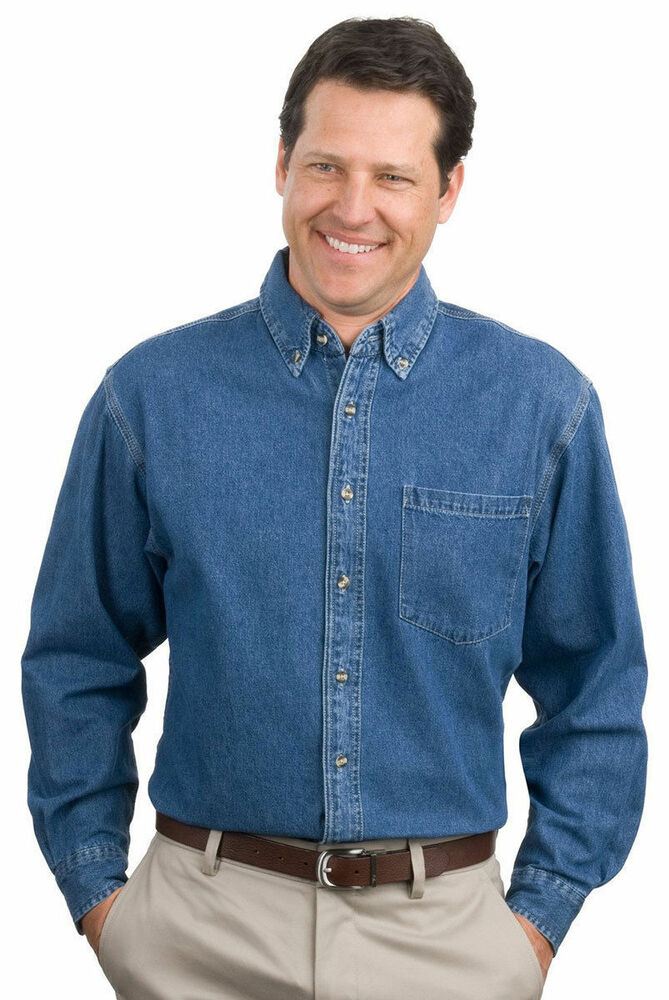 Port Authority Menu0026#39;s 100% Cotton Long Sleeve Button Down Denim Shirt. S100 | eBay