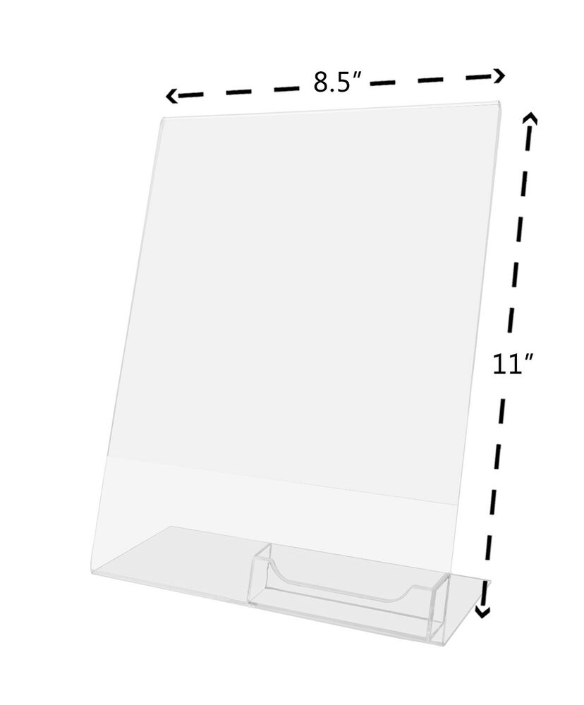 Clear flyer 85x11 sign display w business card holder ebay for Business card display frame
