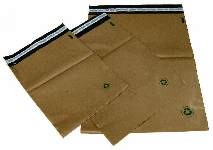 Biodegradable poly bag mailers 100 5 12 x15 5 brown eco for 10x13 window envelope