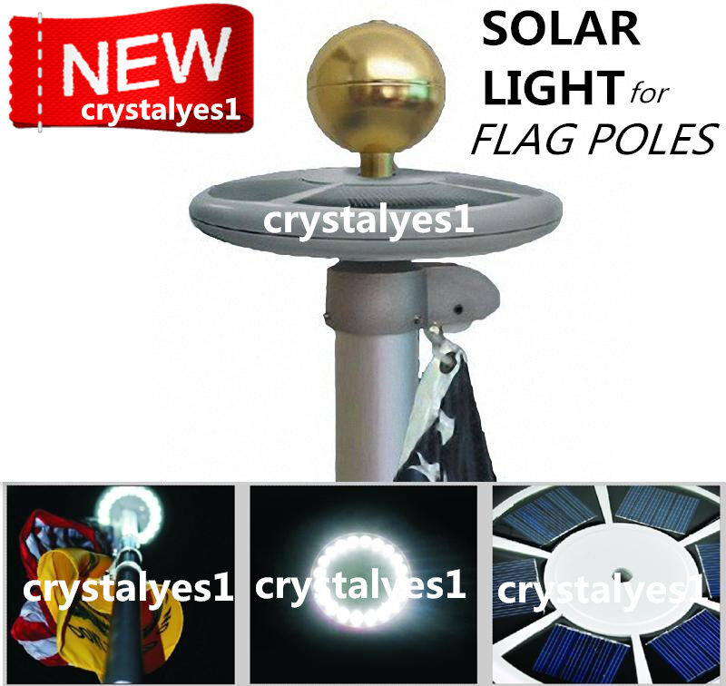 Sunnytech Upgraded Solar Flagpole Flag Pole Light 20led