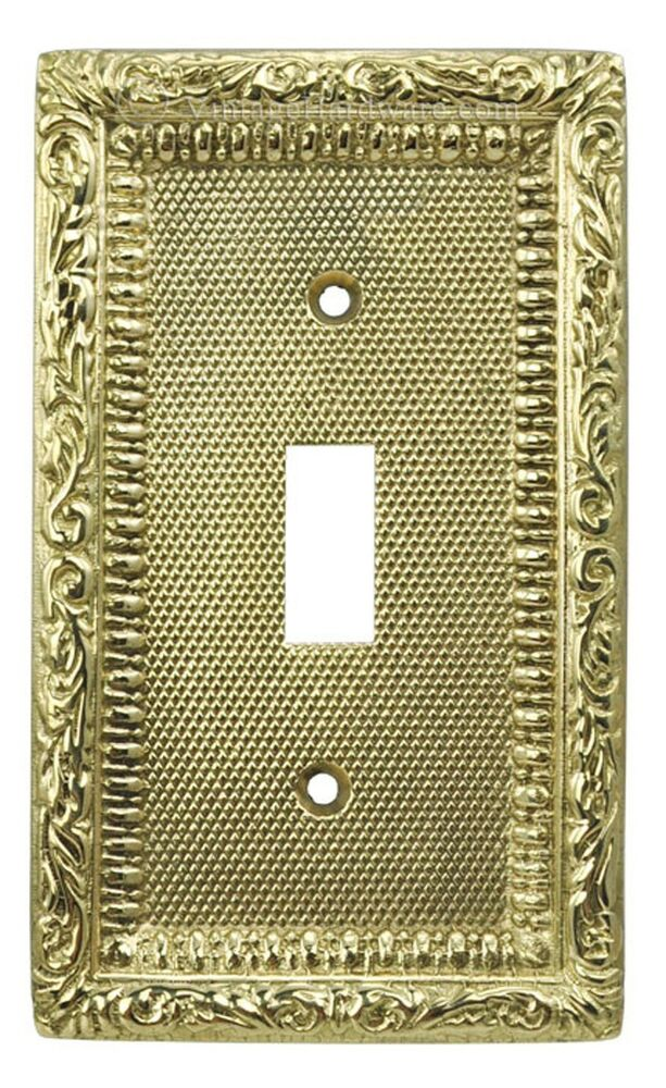Victorian Recreated Brass Single Switch Plate Cover L W1