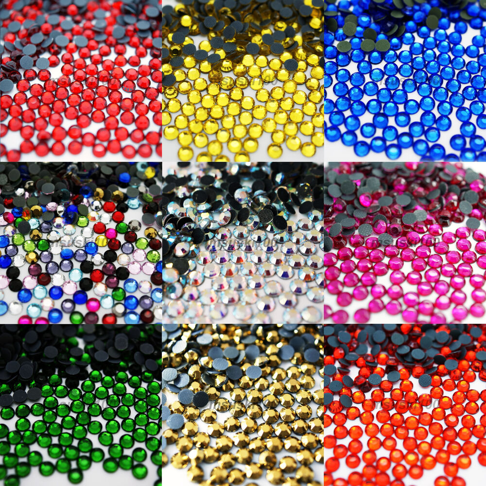 Hot fix glass crystal rhinestones iron on gems round for Rhinestone jewels for crafts