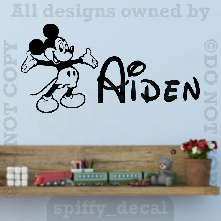 Wall Art Stickers Custom : Personalized name walt disney mickey mouse custom wall