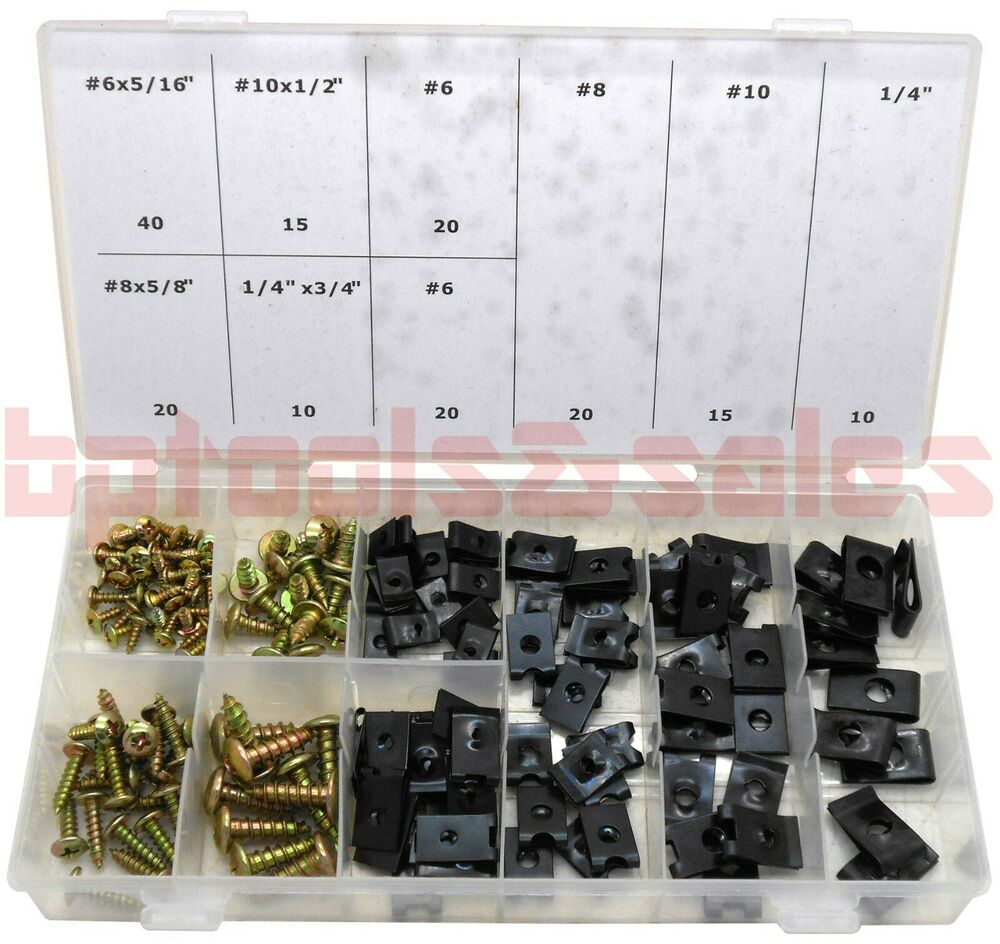 170 Pc Panel Clip Set Car Door Panel U Clip Screw