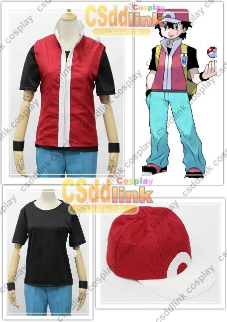 pokemon trainer red cosplay costume only jacket and cap ebay. Black Bedroom Furniture Sets. Home Design Ideas