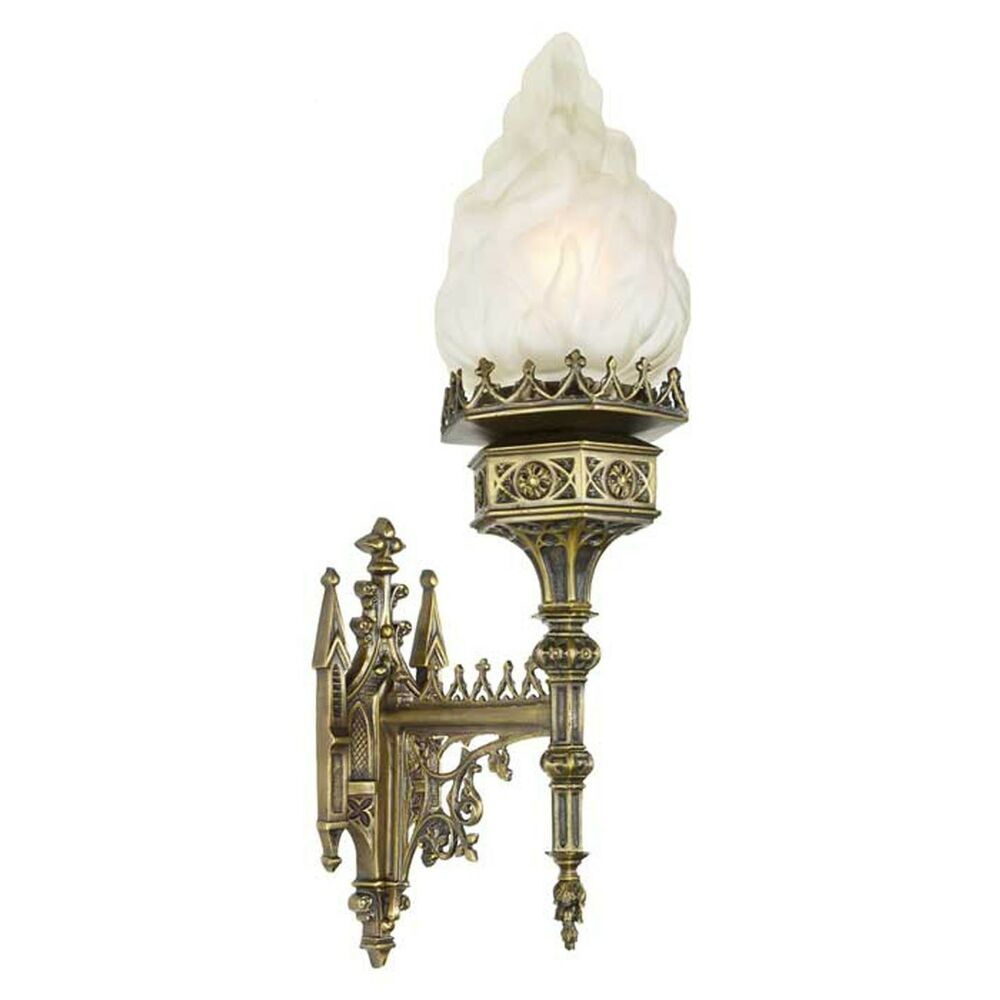 Gothic Wall Sconces: Large Gothic Victorian Medieval Style Flame Shade Wall