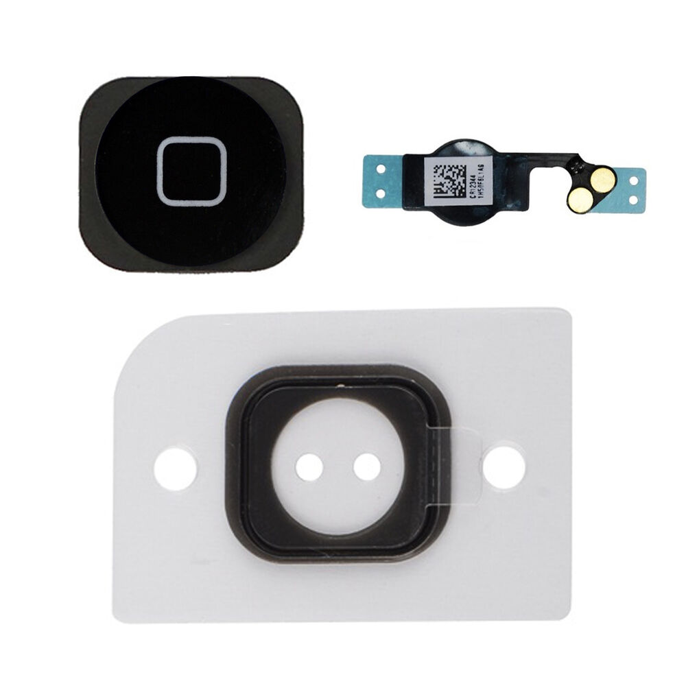 iphone 5 home button komplett set taste flex kabel 5g home button schwarz ebay. Black Bedroom Furniture Sets. Home Design Ideas