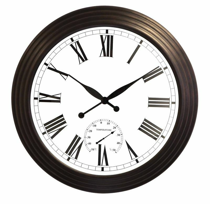 Giant Round Garden Wall Clock Outdoor Large Brown