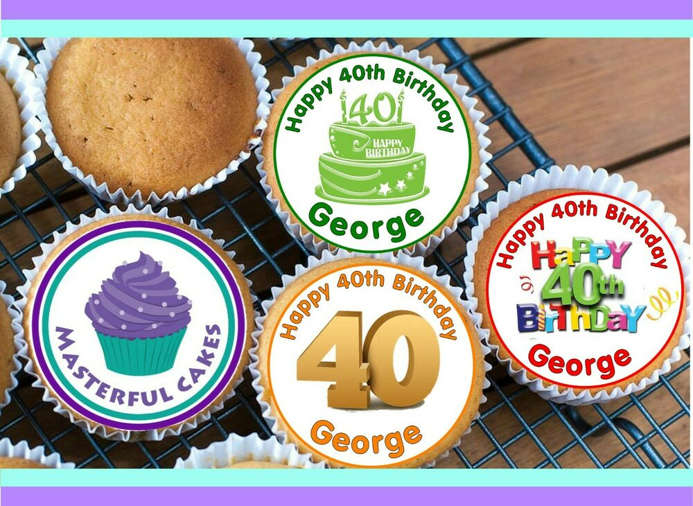 ... 40th BIRTHDAY DESIGN EDIBLE RICE PAPER CUP CAKE TOPPERS  eBay