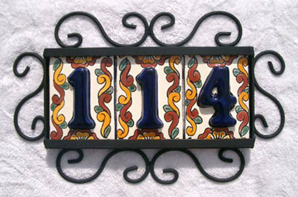 3 mexican blue house numbers tiles with horizontal iron for House number frames