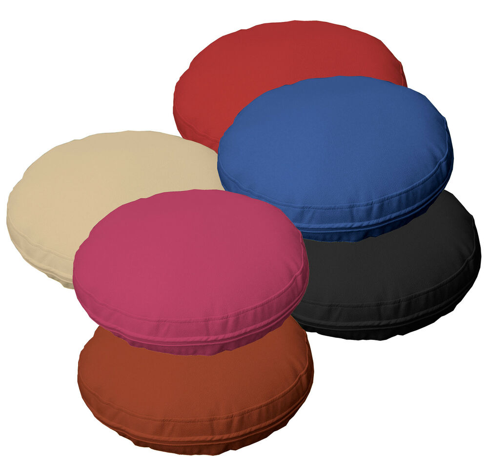 6 Color Plain Round Faux Leather Soft Thick Round Seat