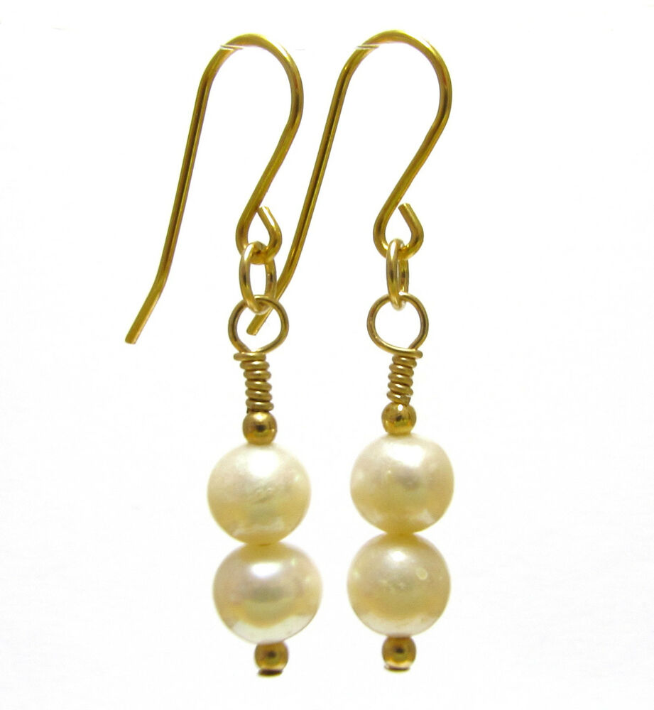 Details About Pearl Earrings 9ct Gold Natural White Freshwater Pearls Beads