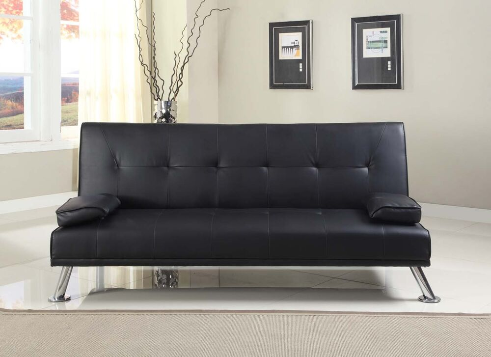 stunning faux leather italian designer style sofa bed with chrome legs 4 colours ebay